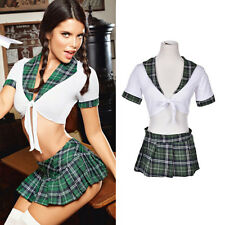 Women Sexy Lingerie Halloween School Girl Uniform Fancy Dress Costume Outfit WL