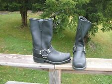 motorcycle boots. strap boots black. 12 inch tall