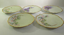 SET/5 T&V LIMOGES FRANCE - ARTIST SIGNED HP DESSERT PLATES - M H HILL