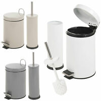 Matching 3L Toilet Bin & Brush Holder Set Bathroom Pedal Rubbish Dustbin Waste