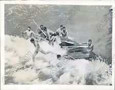 1942 US Army Commandos Train On Rubber Boats In California Surf Press Photo
