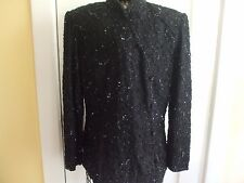EXQUISITE J KARA 100% SILK BLACK CHINESE STYLE HAND BEADED TUNIC TOP size L