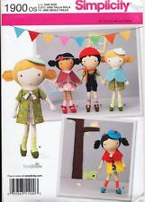 "SIMPLICITY SEWING PATTERN 1900 18""/46CM LALALOOPSY TYPE RAG/CLOTH DOLL & CLOTHES"