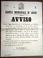 GIUNTA MUNICIPALE DI LECCO  Avviso Estrazione Prestito Sindaco Resinelli 1876