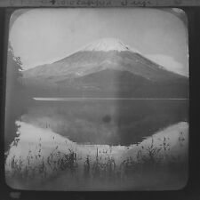 Magic Lantern Slide Snow Capped Mount Fuji Japan Japanese Geology History