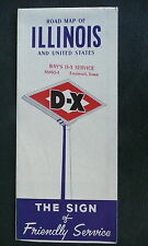 1955 Illinois  road  map DX D-X gas oil route 66 Springfield Peoria inserts