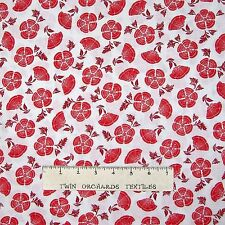 Calico Fabric - Retro Style Red Flower Toss on White - VIP by Cranston YARD