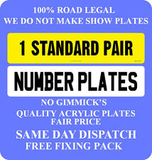 CAR NUMBER PLATES 1 PAIR REGISTRATION PLATES NOT SHOW PLATES  FREE POST PO