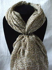 Scarf + Scarf Ring Gift Set Leopard + Black & Gold Scarf Ring (Large) + Gift Bag