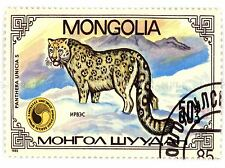 POSTAGE STAMP PANTHERA SNOW LEOPARD MONGOLIA VINTAGE ART PRINT POSTER BMP012A