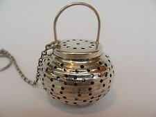 "Webster Antique Sterling Silver Tea Infuser Strainer ""Paper Lanter"" with Chain"