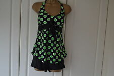 Women 2 Pcs Halter Green Spotty Tankini Swimsuit  Swimming costume (Size 14)