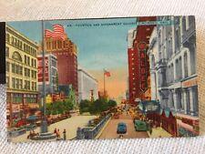 Vintage Postcard Cincinnati, Ohio Fountain Government Square Albee Theater Linen