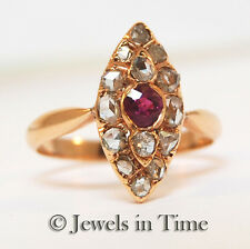 Diamond & Ruby Marquise Shape Ladies Vintage Ring in 14k Rose Gold