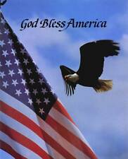 God Bless America: Bald Eagle and American Flag - 8x10 In. Patriotic Art Print