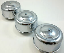 """3 Chrome Smooth 4 x 2  Air Cleaner Kit For 2-1/16"""" & 2-5/8"""" Carburators Chevy"""