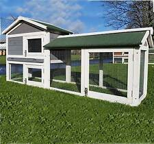 LARGE RABBIT HUTCH GUINEA PIG HUTCHES RUN 2 TIER DOUBLE DECKER CAGE