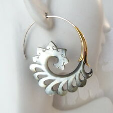 Spiral Gray Shell on .925 Sterling Silver Hook Tribal Earrings Bohemian Jewelry