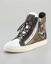 Auth Giuseppe Zanotti White Skull Embroidered Hi-Top Woman Sneakers 38 US 8 $710