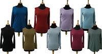 Damen M&S Reine Baumwolle Stay ™ Langärmelig T-Shirt Basis Oberteil Größe 8 - 22