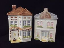 AVON Vtg Handpainted Ceramic Townhouse Canister Collection Cookie Jar * Set 2