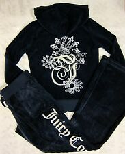 NWT Juicy Couture Navy Sparkle Burst Velour Hoodie + Pant Tracksuit Set S $256