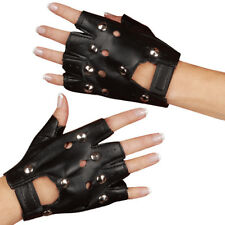 Studded Gloves Fingerless Black Leather Punk Costume Emo Rocker Glovelets Adult