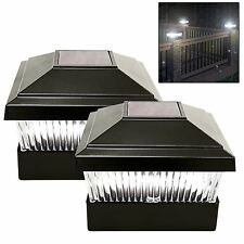 black Outdoor Garden Post Deck  Square Fence  Powered Led Lights pack of 2 inbox