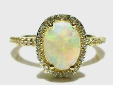 EFFY 14K Yellow Gold Oval Opal  0.56 ct Halo Diamond Ring Sz. 7.5 NICE!