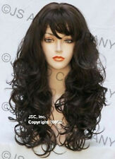 Long Bouncy Wavy Curly Skin top Medium  Brown WIG JSCA 6
