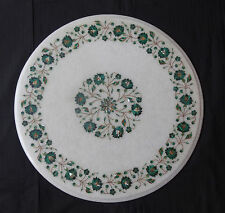 "21"" Marble Round Center Coffee Table Top Malachite Marquetry Table Inlay Decor"