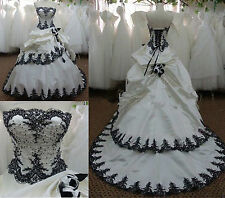Vintage White Black Gothic Wedding Dress Bridal Gowns Lace up Custom Size 2+4++
