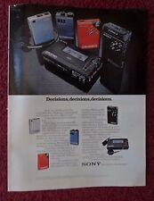 1982 Print Ad SONY Walkman Portable Cassette Radio ~ Decisions Five Diff Styles