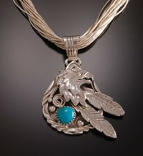 Navajo Eagle and Feathers Turquoise Pendant - Mens Pendant- TO20E