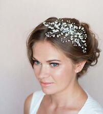 Bridal Hair Vine Crystal Pearl Floral Leaf Wedding Proms Comb Headpiece