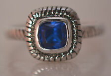 SQUARE SAPPHIRE SEPTEMBER BIRTH RING  Genuine Sterling Silver.925 Stamped Size 8
