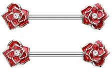 Body Accentz® Nipple Ring Rose Flower bar body Jewelry Pair sold as pair