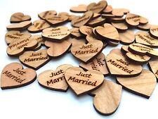 50 Streudeko Holz Herz Tischdeko JUST MARRIED Hochzeit Dekoherzen Streuteile