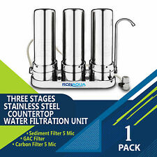 Triple Stainless Steel Countertop Water Filtration Unit: Carbon Block & Sediment