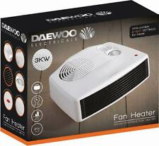 Daewoo Small Quiet Portable Powerful 3KW 3000W Electric Floor Fan Heater - White