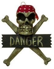 "Pirate Decoration Skull and Crossbones ""Danger"" Hand Carved Large Wooden Plaque"