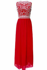 NEW Red Maxi Dress wedding Dress Embellished Bridesmaid Party Gown SIZE 18