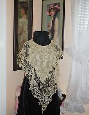 Antique Victorian Edwardian Collar Dress Front Battenburg Lace Filet Crochet WOW