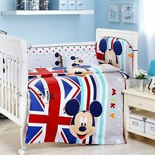 Cotton Baby Bedding Crib Cot Bumpers Quilt Sheet Pillow Set Boy Mickey Theme New
