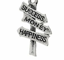 SILVER SIGNPOST WITH SUCCESS,MONEY,& HAPPINESS ON IT CLIP ON CHARM -TIBET SILVER