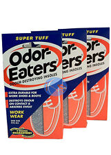 PACK OF 3 ODOR-EATERS SUPER TUFF DEODORISING INSOLES.WASHABLE