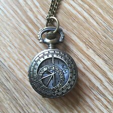 Compass Clock Necklace Pocket Watch Antique Style Bronze Pendant Vintage