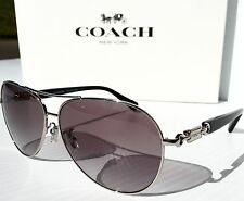 NEW* COACH Silver Aviator 59mm L952 in Grey Gradient Lens Sunglass HC7060 $229