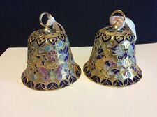 Cloisonné Bell Ornament With Butterflies Lot Of 2