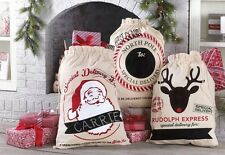 NEW! MUD PIE MH6 Sleigh Mates XL Canvas CHRISTMAS Toy Gift Sack Bag w/ Chalk